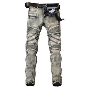Autumn Vintage Mens Jeans Biker Ripped Washed Faded Hip Hop Jeans Pants For Men Size 28-38