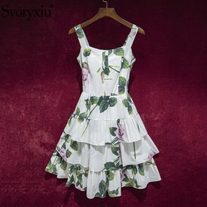 Svoryxiu Runway Summer Sexy Spaghetti Strap Cotton Dress Women's Cascading Ruffle Rose Flower Print White Charming Dresses XXL