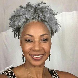 Salz und Pfeffer Silber markierte grau puff Pferdeschwanz Echthaarverlängerung Natürliche frei grau menschlichen Haarteil bun Chignon updo 120g färbt