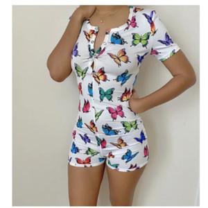 20 colores de las mujeres ropa de dormir Playsuit botón del entrenamiento flaco calientes impresión de la manga corta del mono de V-cuello corto Onesies de las mujeres más el tamaño de los mamelucos de DHL