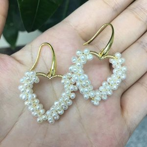 jewelry hand made pearls 14k gold filled heart shaped pearl earrings dangle earrings freshwater pearl bridal jewelry