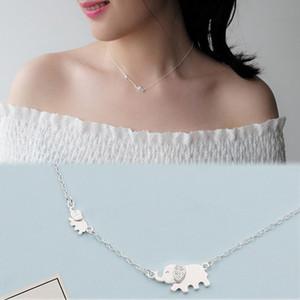 AKOLION Prata Bonito Elefante Pingente Colares Mulheres para Mãe Gilr Presente 925 jóias