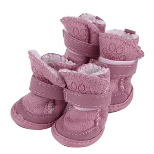 Pink & Khaki Comfortable Stylish Pet Dog Shoes Snow Boots Child Teddy Cotton Flax small dog shoes Snow Boots Keep Warm