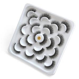 Hot ISEEN 10Pairs Wimpern 3D Falsche Wimpern Natürliche starke lange Augenwimpern Fluffy Make-up Beauty-Verlängerungs-Werkzeuge