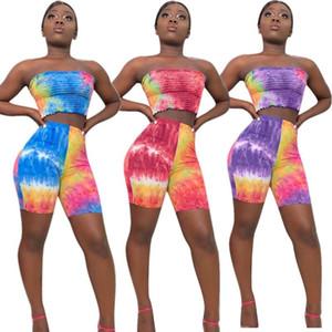 패션 여성 시니 타이 염색 두 조각 세트 Bodycon 튜브는 반바지 랩 가슴 여름 보헤미안 민소매 의상 스포츠 점프 슈트 세트 탑
