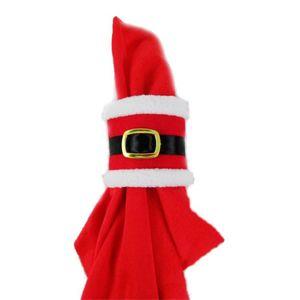 Weihnachten Santa Claus Gürtelschnalle Serviette Ringe Hochzeit Bankett Abendessen Decor Serviette Serviette Inhaber Neujahr Tischdekorationen JK1910PH