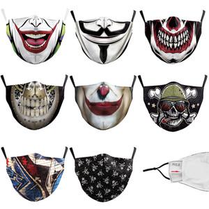 coton mode design masque drôle réutilisable masque crâne drapeau masques numérique sport Halloween cosplay poussière chaude coupe-vent Masque
