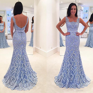 Light Sky Blue Günstige Mermaid Abendkleider Backless Spitze Applique Perlen Trompete Abendkleider Square Neck Plus Size Formal Dress