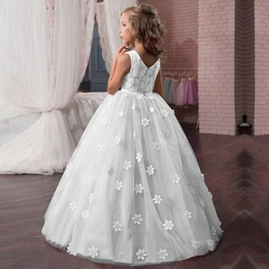 2020 Tulle Lace Baby Toddler Beauty Flower Girl Dress for Wedding Party First Communion Dress Girl Ball Gown Pageant Costume T200417