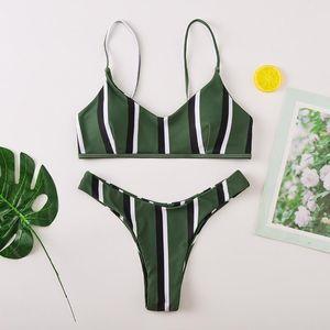SwimsuitWomen Striped Print Sexy Bikini Set Push Up Pad Bra Swimwear Bikinis 2020 Mujer Summer Femme BiquiniHoliday Beachwear