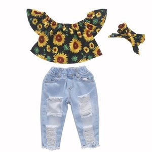 KEAIYOUHUO 2020 Summer Girls Clothes Sets Short Sleeve Children Clothing Girl Outfits Suits T-Shirt+Jeans 2pcs Kids Clothes Sets CX200628