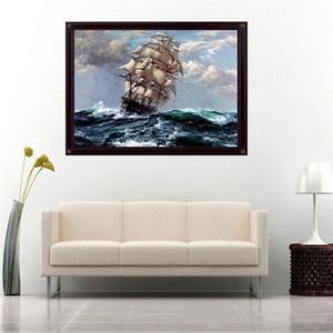Bateau sur la mer de qualité supérieure peinte à la main / HD Imprimer Seascape Art Peinture à l'huile sur toile pour Décoration d'intérieur, Mulit tailles Livraison gratuite