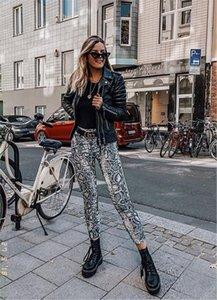 Kadınlar Casual Yılan Cilt Baskı Python Kalem Pantolon Yüksek Bel Spor Leggins Pantalon Femme İnce Pantolon Streetwear