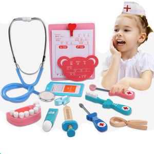 Simulation Cartoon Beauty fashion Toy Imitation Medical Kit Set For Children Doctor Dental Nurse Needle Tool Kids Wooden Toys