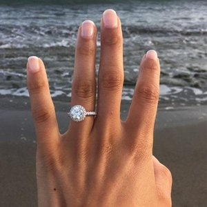 New Womens Fashion Wedding Rings Round Gemstone Silver Engagement Rings Jewelry Simulated Diamond Ring For Wedding