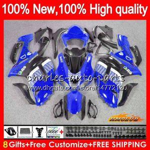 Bodys +8Gifts For KAWASAKI ZX 6R 6 R 600CC ZX636 07 08 34HC.106 ZX-636 ZX600 600 ZX6R 07 08 blue black ZX 636 ZX-6R 2007 2008 Fairing kit
