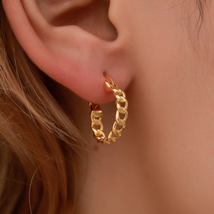 Punk Small Circle Hoop Earrings For Women Gold Silver Chain Statement Earrings Jewelry Metal Geometric Fashion Earring Wholesale