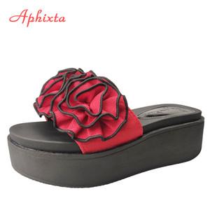 Aphixta Fleurs rouges Plate-forme Chaussons femmes brodent plage 6cm talon compensé Chaussures Clog Slides Tongs Sandales pour femme