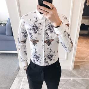Desinger Print Shirt Men Korea Slim Fit Long Sleeve Camisa Masculina Chemise Homme Social dress Men Party Club Shirt