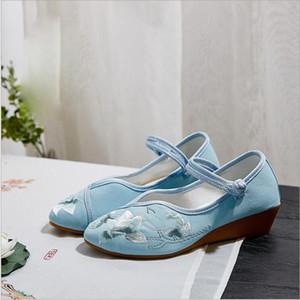 Asian étnica pano bordado sapatos de verão antigos mulheres inclinação pontas retro senhora único sapatos Altura do salto 4 centímetros