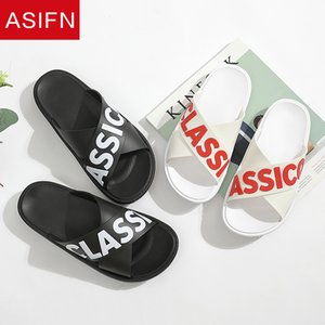 ASIFN Classic Lettera Uomini Pantofole Estate Flip Flops bagno femminile esterno Scivoli Casa antiscivolo Maschio Sandali Home pattini Man