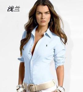 İlkbahar ve Sonbahar Yeni moda polos Baskı Tek satır Düğme Ince Gömlek Kadın Uzun Kollu Gösterisi Ince Üst gömlek