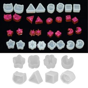 Equipamentos de ferramentas de jóias Ewelry Acessórios 8 Par / Set UV Resina Silicone Moldes DIY Cristal Epóxi Molde Pequenos Brincos Ejudos ...