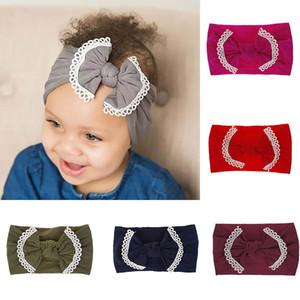 21 Renkler Bebek Kız Naylon Kafa Dantel moda yumuşak Şeker Renk Bohemia Yay Kız Bebek Saç Aksesuarları Bandı C5689