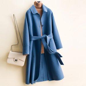 Ceinture classique de haute qualité solide 100% Laine Manteau Femme Automne Hiver en vrac double face Veste en laine pure cachemire femmes Pardessus
