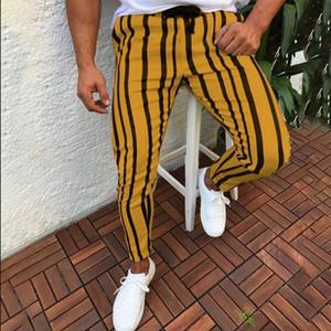Мужская повседневная полосатый длинные брюки Мужские бегунов шаровары фитнес-полоса городской прямой шнурок тонкий Fit брюки размер 3XL