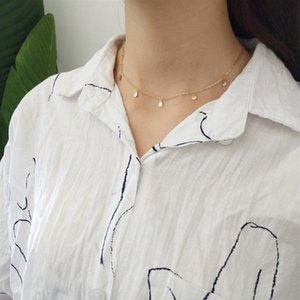 INZATT Real 925 Sterling Silver Minimalist Geometric Bright Disc Choker Necklace For Fashion Women Boho Jewelry Bohemia Gift