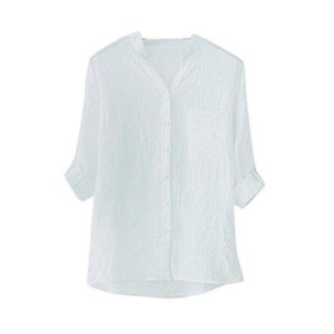 Women's Cotton Linen Solid Long Sleeve Loose Stand Collar Blouse Tops