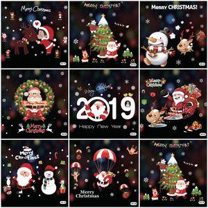 50 * 70cm Weihnachtsdekoration Fensterglas-Aufkleber Frohe Weihnachten Weihnachtsmann Schnee PVC-entfernbare Wand-Aufkleber für Weihnachten Startseite Abziehbilder DH0389
