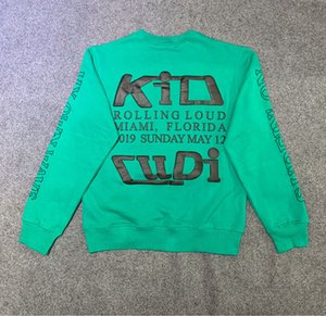2020 미국 미국 힙합 남성 여성 CPFM XYZ 아이 롤링은 큰 소리로 아이 후드 티 셔츠 녹색 후드를 인쇄 퍼프 빛 일몰에서 수영