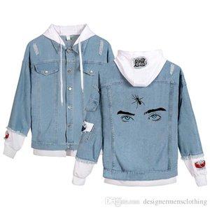 Augen-Muster gedruckt Loch Panelled Einreiher Jean Jacket Men Langarm-Kapuzenjacke Paar Kleidung