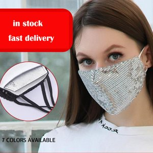 washable fashion bling face mask Replaceable pm2.5 filter cotton anti dust mouth mask 7color available