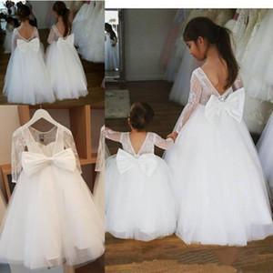 O laço branco Appliqued vestidos da menina da O-Pescoço Backless Tulle meninas vestido formal para o casamento Primeira Comunhão Dresss