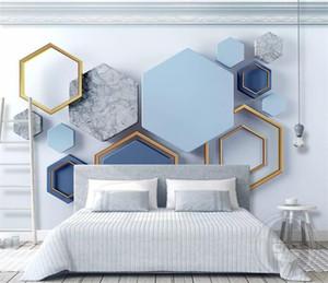 Costume 3d moderna minimalista Geometric Marble Mosaic Recados Cloth Wallpaper Mural Sala Decoração Wall Início Papel De Parede