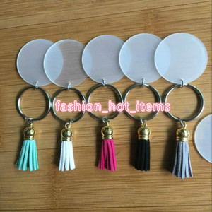 60pcs / lot 4 centímetros disco em branco com 3 centímetros Suede Tassel Vinil Chaveiro Monogrammed Acrílico claro Disc Tassel Keychain