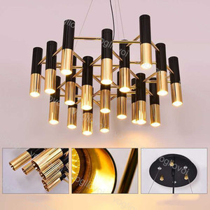 Lámparas colgantes modernas E14 110 220V COLGANDO TUBO DE METAL DE METAL Lámpara de lámpara de oro Negro suspensión Colgando Lámpara de luz para la sala de comedor vivo DHL