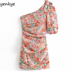 Verano 2019 mujeres atractiva oblicua de la impresión floral asimétrico Vestido elegante de señora manga corta drapeado ajustado de mini vestido HHWM2216