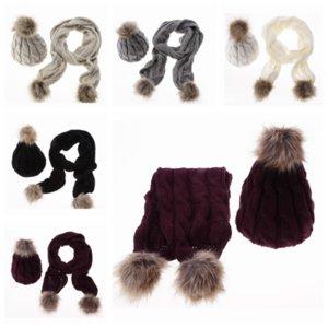 Зима теплая сгустить Вязаные Вязаные Головные уборы Комплекты Pom Pom Шапочки Cap шарф для Womens Открытый Одеть вождения Hat ZZA847