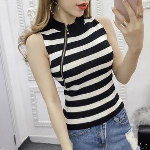 Eillysevens Fashion Tank Tops Frauen-beiläufige Sleeveless Damen Strickweste O-Ansatz StripedSlim Tanks Tops # g40