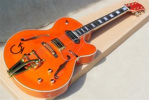 Caz Yarı içi boş Çift F Delik Orangel Elektro Gitar, Bigby Köprüsü ve Altın Donanımları, Dikdörtgen Perde, Gülağacı Klavye.