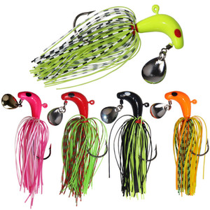 Spinnerbait Lead Jig Head Fishing Lure Rubber Jigs Lure Buzzbait Squid Bass Bait Silicone Skirt Lure Hook