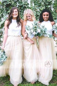 Duas peças Tulle País longas Bridesmaids 2020 Champagne Lace Top Floor Comprimento Boho dama de honra Convidado de Casamento Vestidos BM0169
