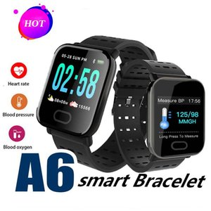 Nuevo A6 Wristband Girls Smart Watch color Pantalla táctil IP67 Smartwatch resistente al agua Heart Rate Smart Bracelet Monitor para iphone Android