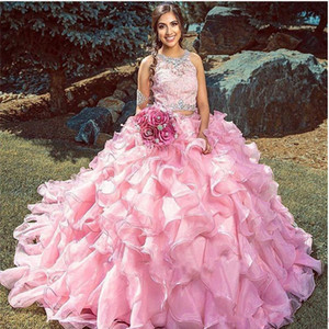 Cascading Tier Ruffles Pink Ball Gown Quinceanera Dresses 2020 two pieces Beads Appliques Sweet 16 vestidos de 15 Anos Masquarade Prom gown