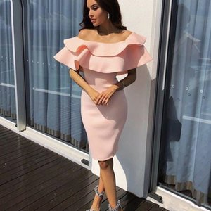Pink Sheath Cocktail Party Dresses Off Shoulder Short Ruffles Women Evening Prom Gowns Special Occasion Dress Plus Size Customized Cheap