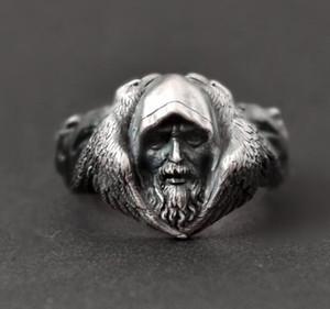 La Mythologie Nordique Odin Corbeau Argent Anneaux Hommes Viking Loup En Acier Inoxydable Anneau Scandinave Amulette Bijoux